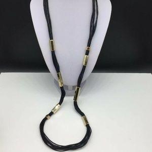 Chico's Black Multi Strand Cord Gold Tone Necklace